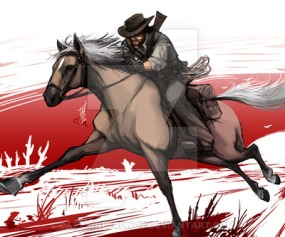 John only needs two things, a fast steed and the six gun on his hip!
